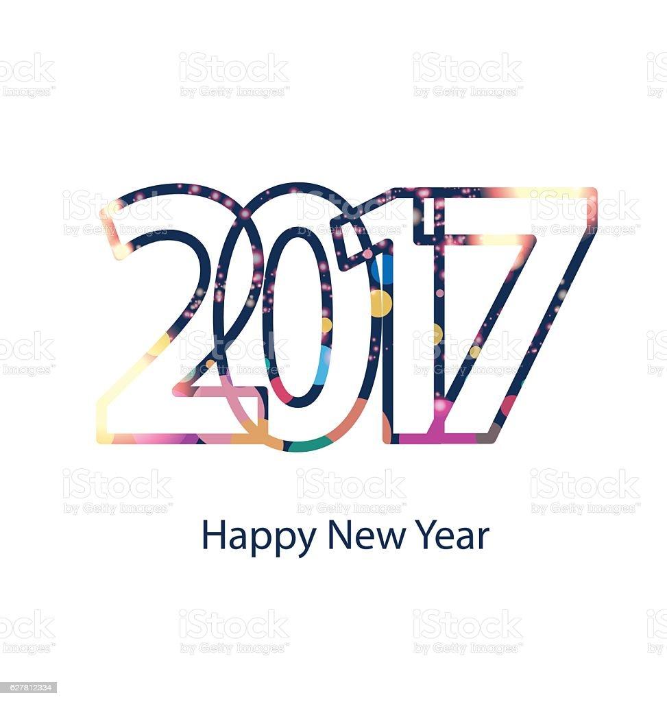 Happy new year 2017 vector art illustration