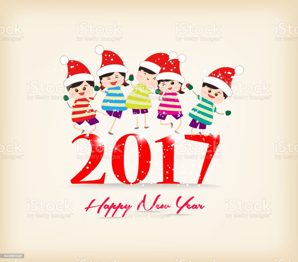 happy new year 2017 with kids funny vector art illustration