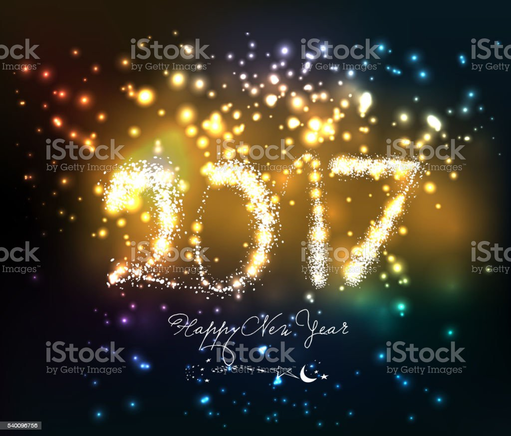 Happy new year 2017 written with Sparkle firework vector art illustration