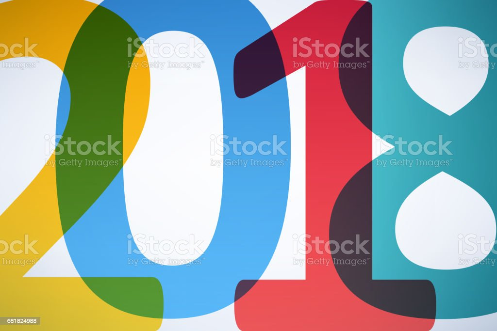 Happy New Year 2018 colorful background vector art illustration