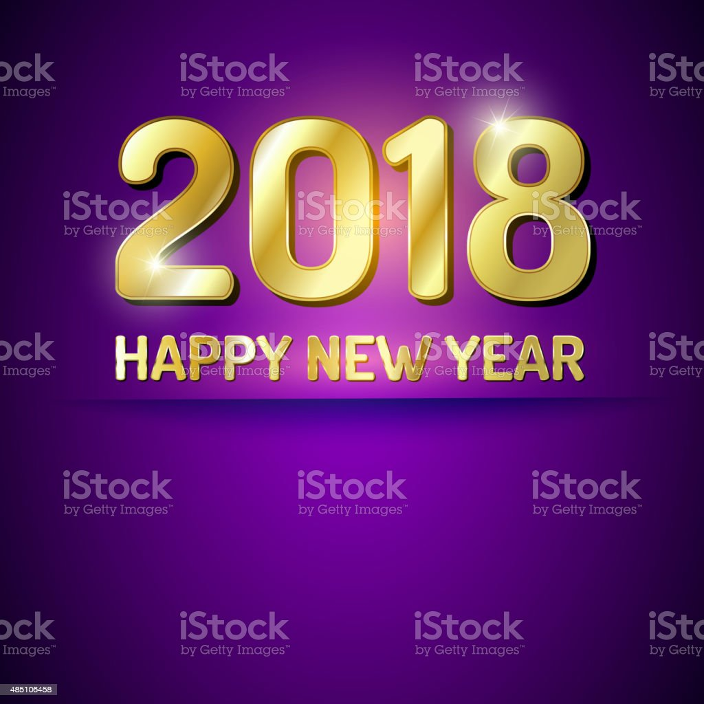 Happy New Year 2018 greetings card vector art illustration