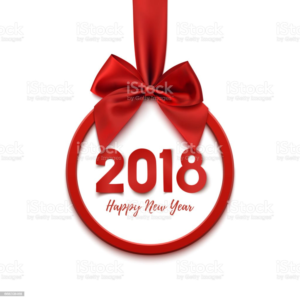 Happy New Year 2018 round banner with red ribbon and bow, on white...
