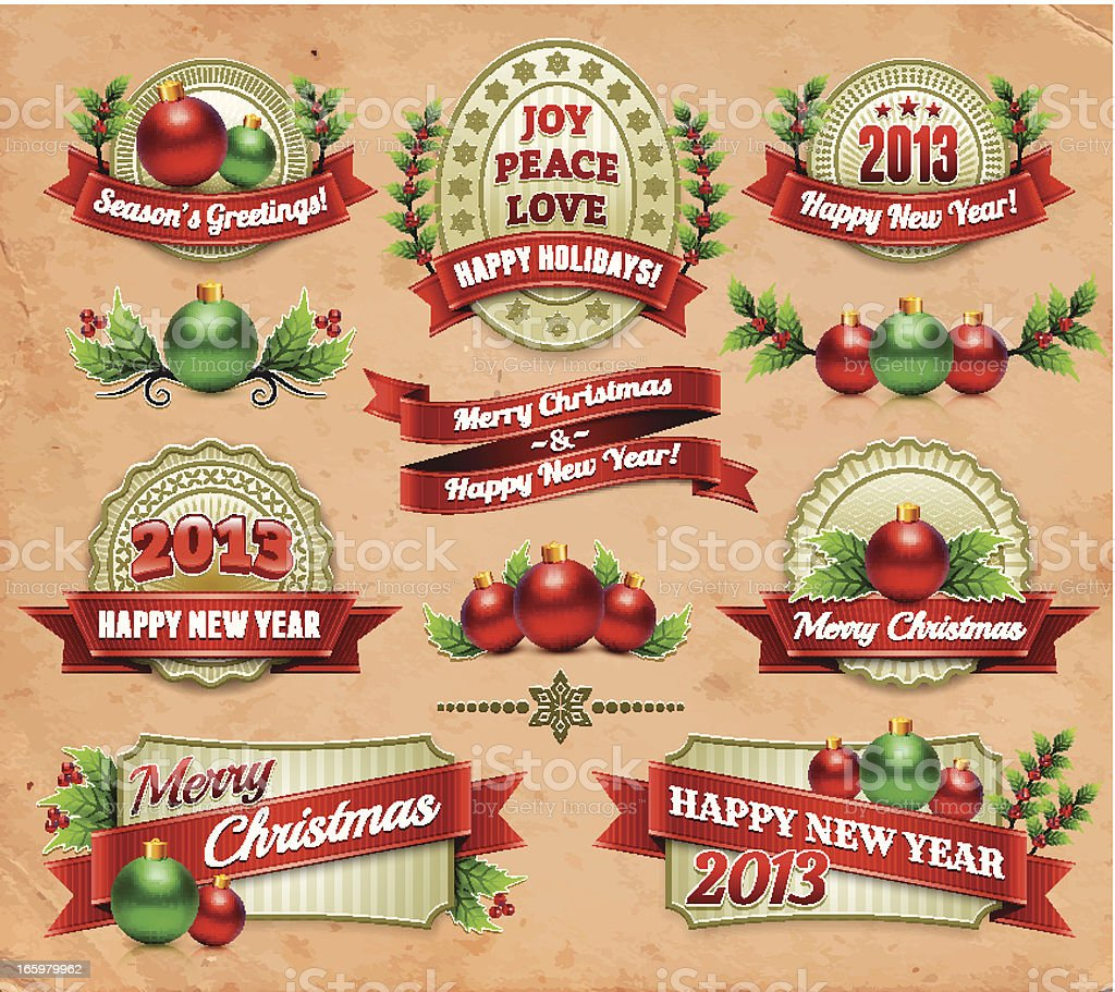 Happy New Year and frames on Old Dirty Paper royalty-free stock vector art