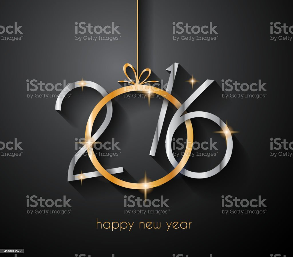 2016 Happy New Year and Merry Christmas Background vector art illustration