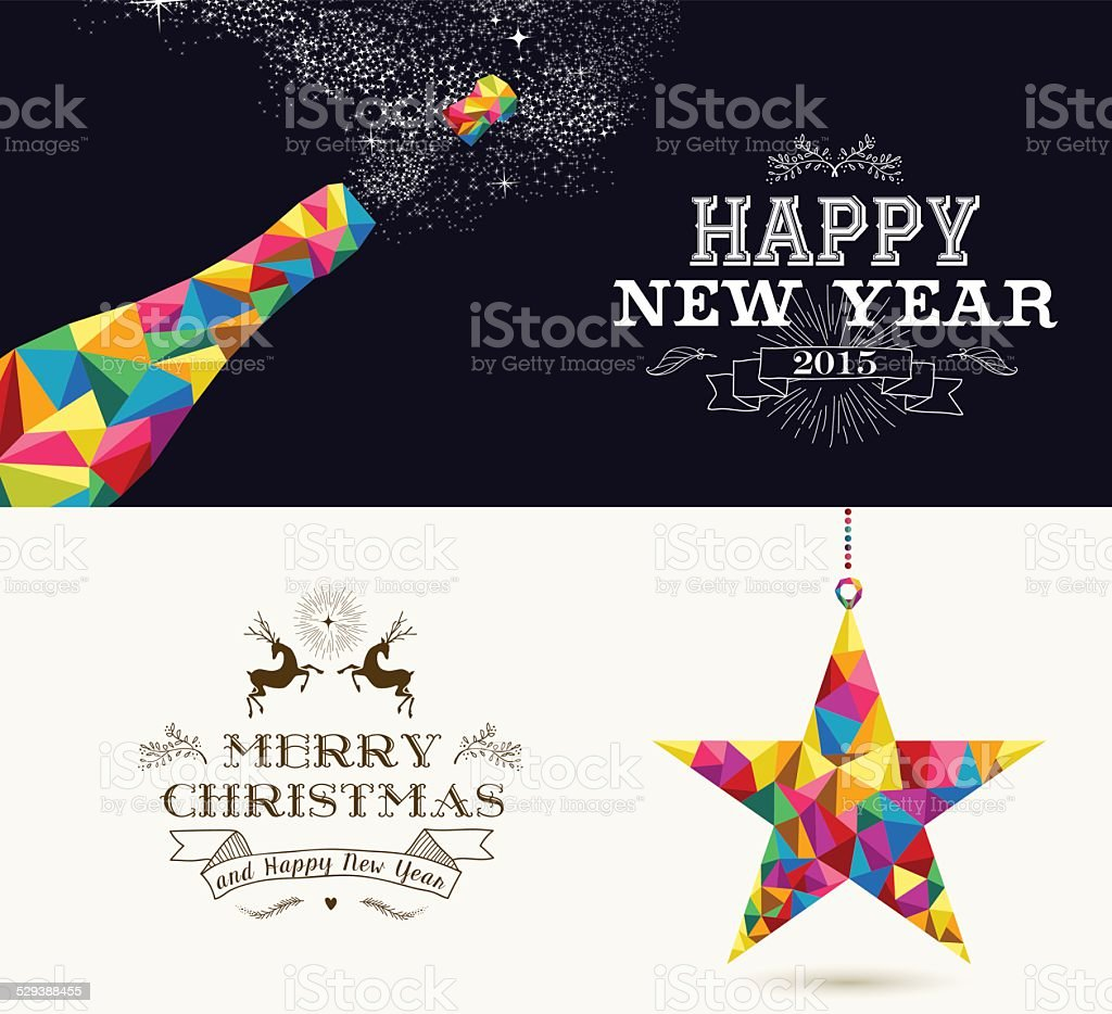 Happy New Year and Merry Christmas holidays vector art illustration