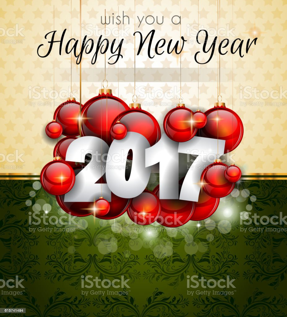 2017 Happy New Year Background for your Seasonal Flyers vector art illustration