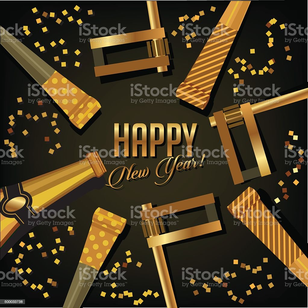 Happy New Year background gold design vector art illustration