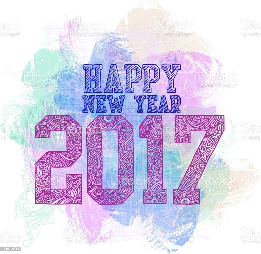 2017, Happy New Year Background vector art illustration