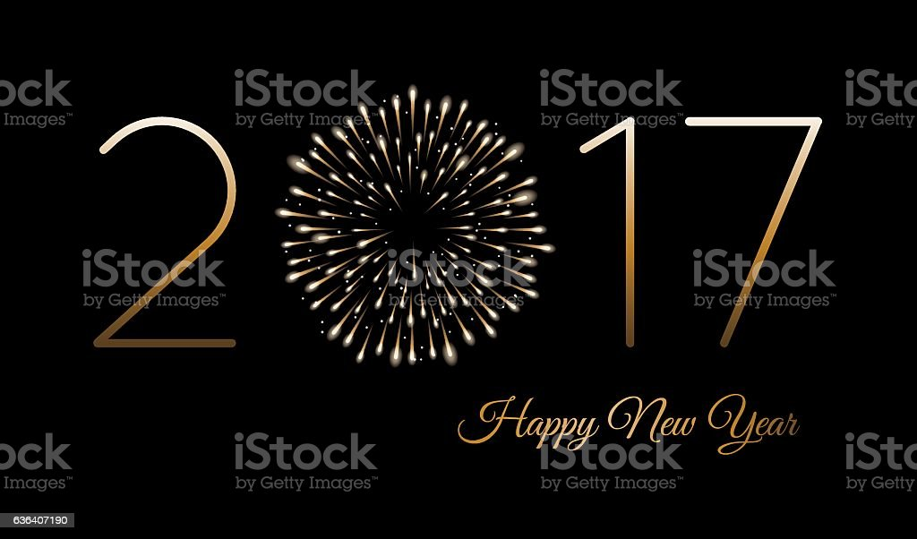 Happy new year background with fireworks vector art illustration