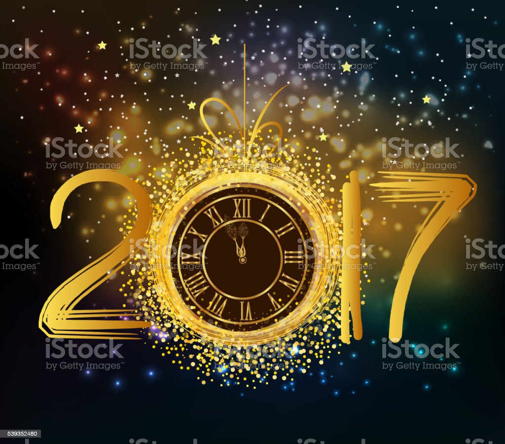 2017 Happy New Year background with gold clock vector art illustration