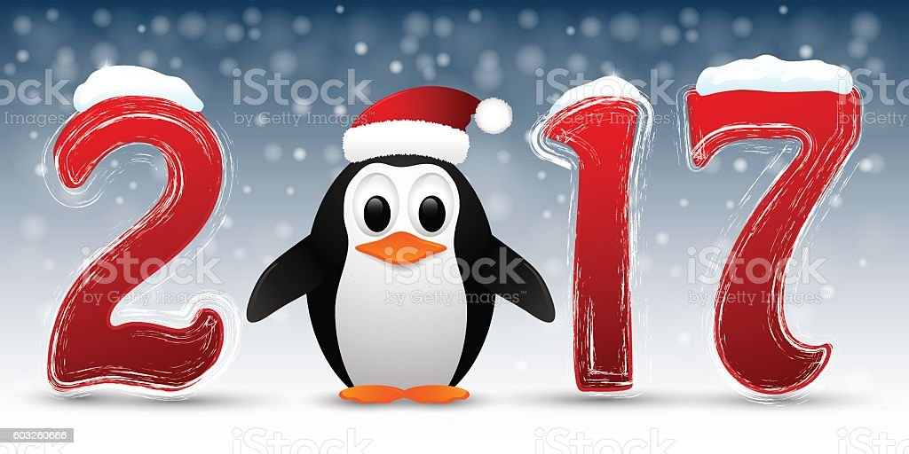 Happy New Year background with penguin. vector art illustration