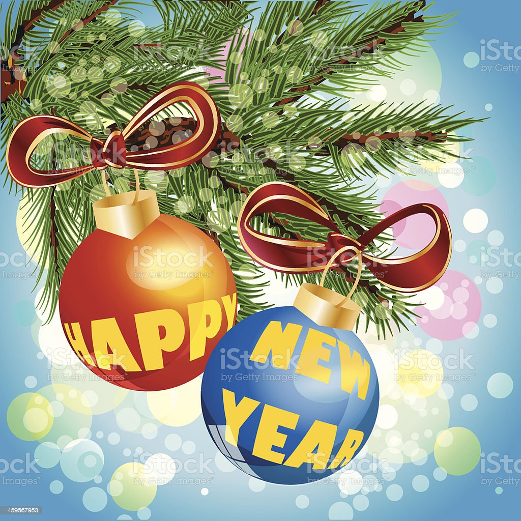 Happy New Year balls on the Christmas tree. Vector illustration royalty-free stock vector art
