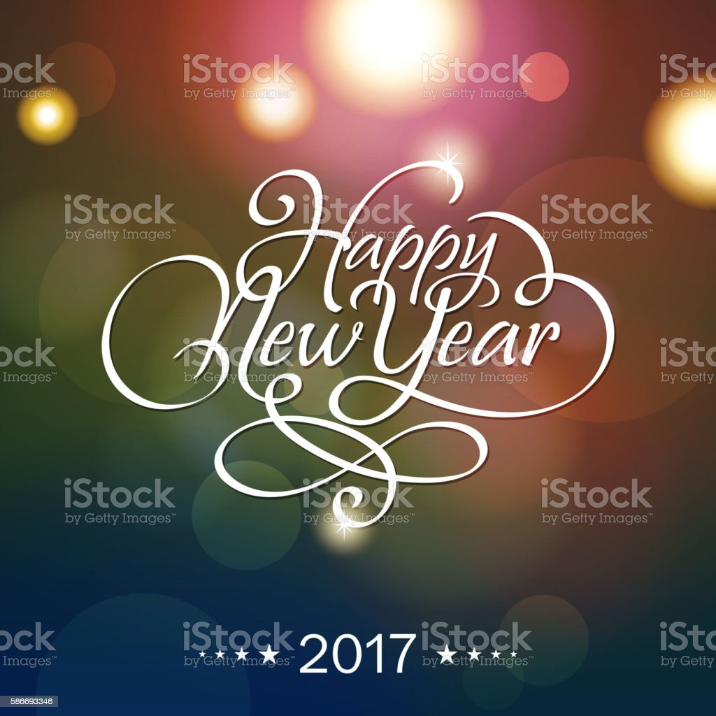 Happy New Year Calligraphy 2017 vector art illustration