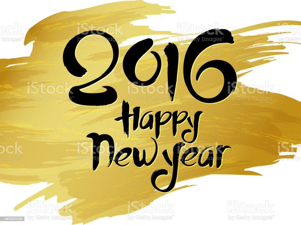Happy new year calligraphy vector art illustration
