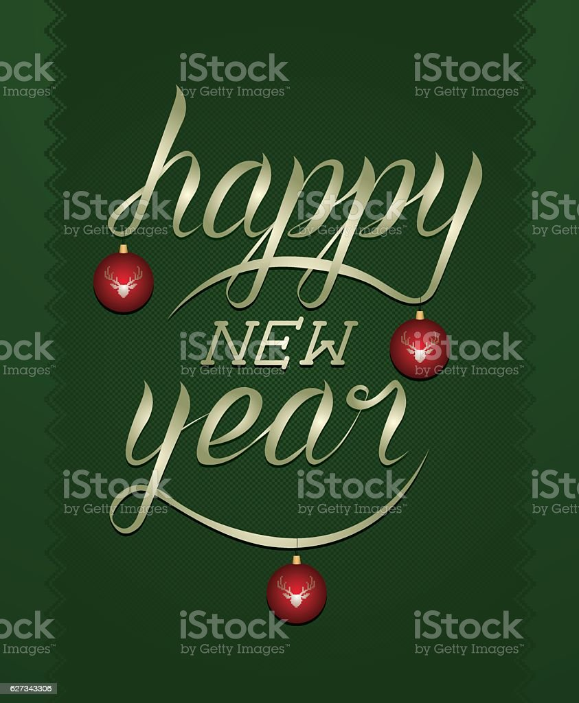Happy new Year calligraphy royalty-free stock vector art