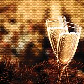 Happy New Year Card with glasses of champagne.