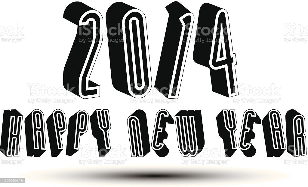 2014 Happy New Year card with phrase, 3d retro style royalty-free stock vector art