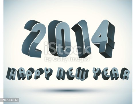 2014 Happy New Year Card With Phrase 3d Retro Style stock vector art ...