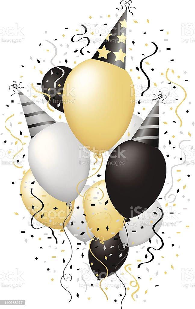 Happy New Year Celebration Happy Birthday Party Balloons Vector Illustration vector art illustration