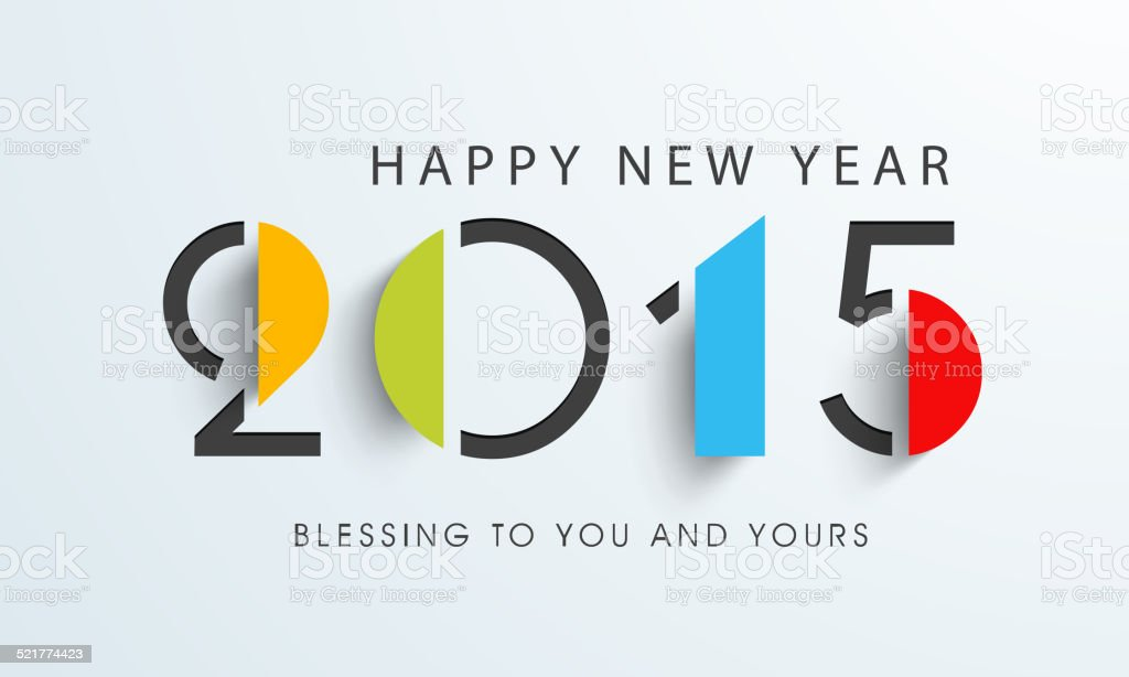 Happy New Year celebration with stylish text design. vector art illustration
