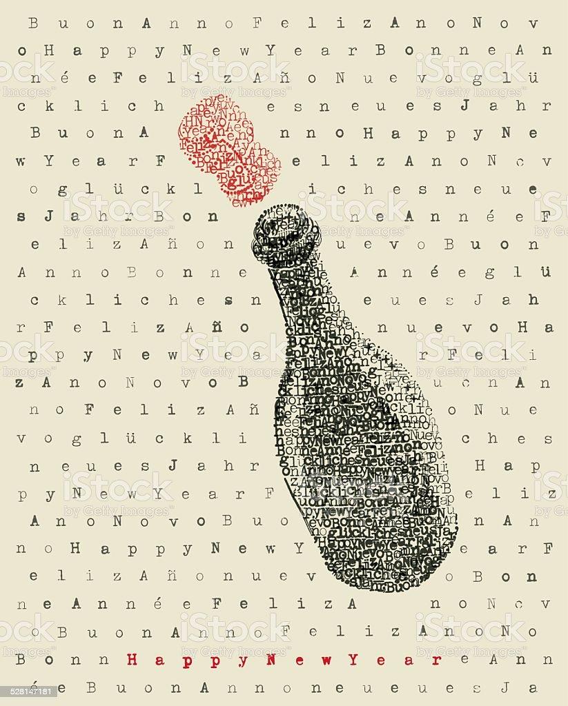Happy new year champagne bottle vector art illustration