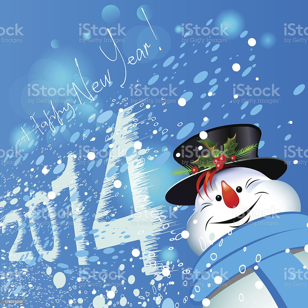 Happy new year. Christmas Background. Merry snowman. royalty-free stock vector art