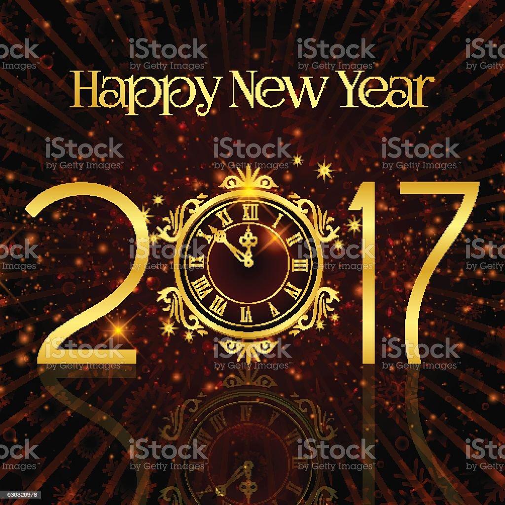 Happy New Year. Congratulation. Symbols, numbers, clock. Gold, maroon...