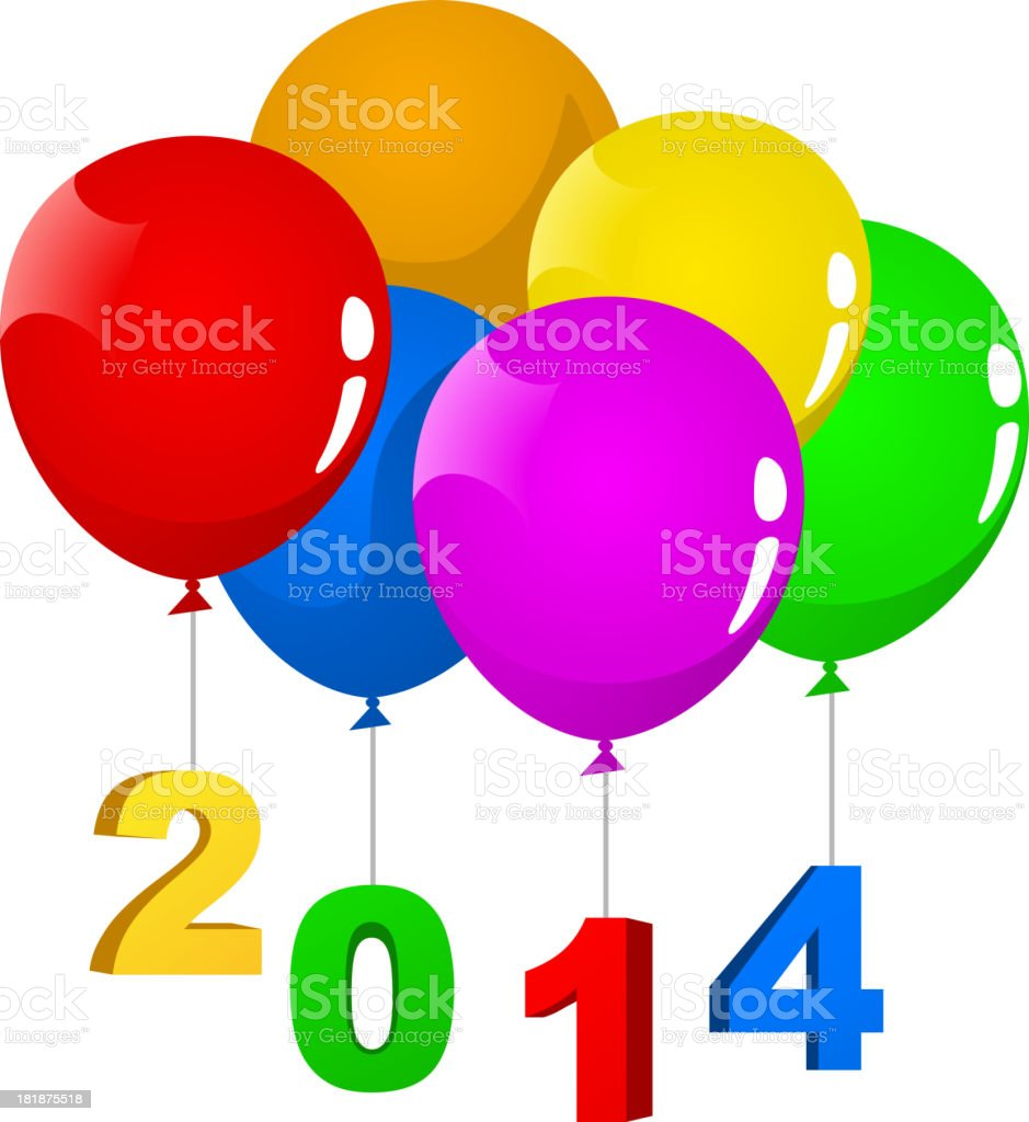 Happy New Year Eve 2014 Balloon Banner royalty-free stock vector art