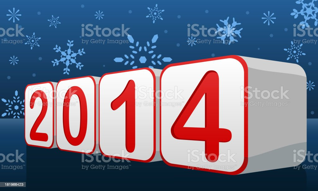 Happy New Year Eve 2014 With Snowflake Background royalty-free stock vector art