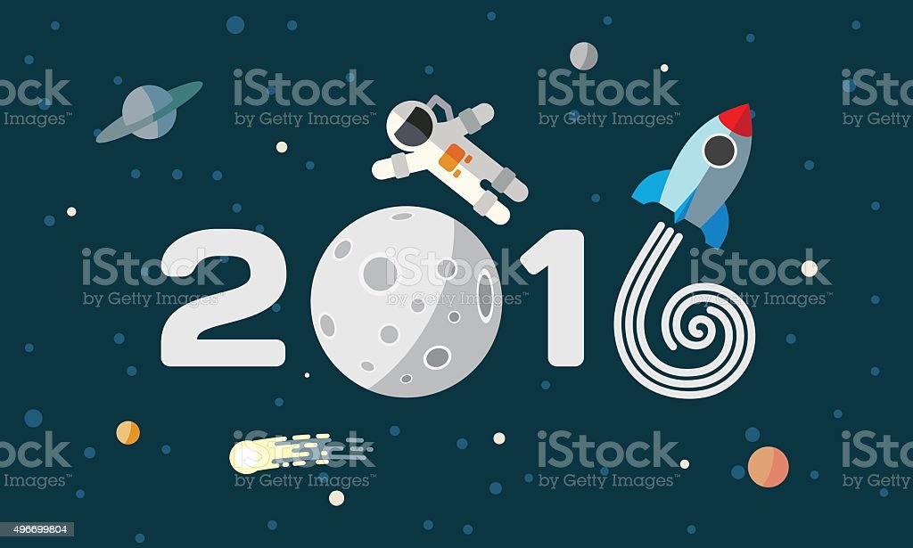 Happy New Year. Flat space theme illustration for calendar. vector art illustration