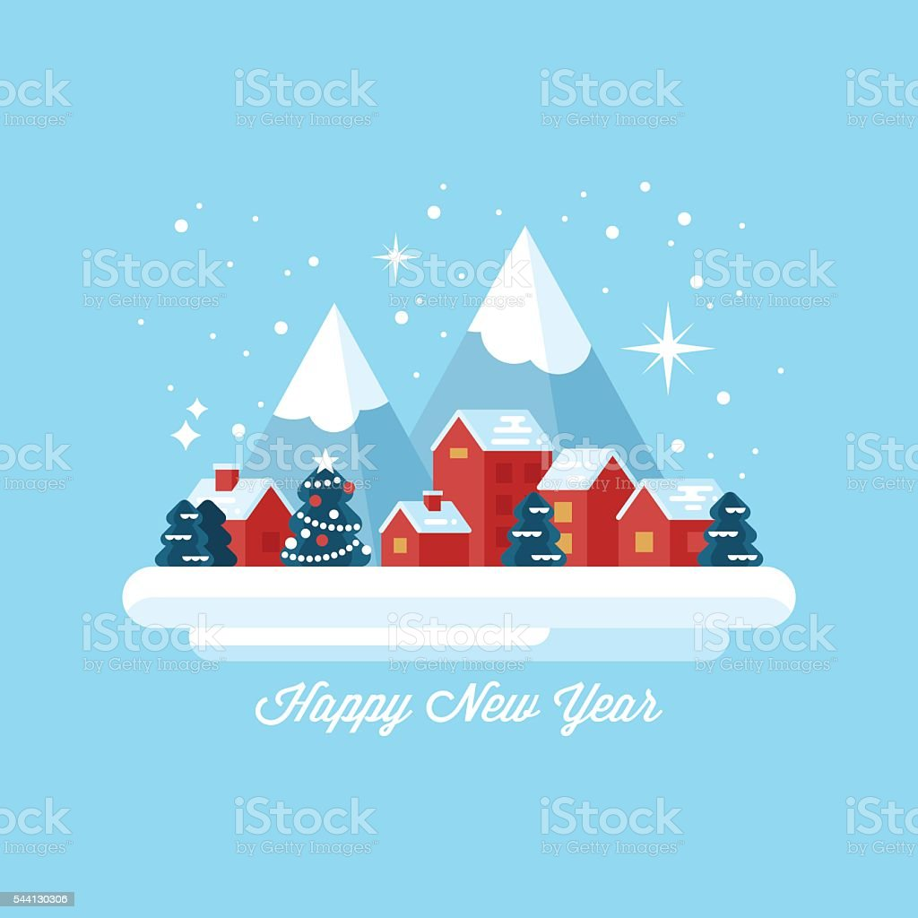 Happy New Year greeting card design with small winter village vector art illustration