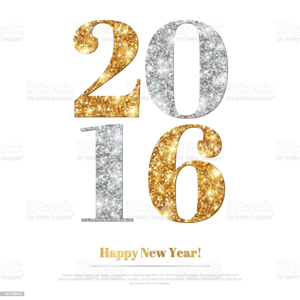 Happy New Year Greeting Card with Gold and Silver Numbers. vector art illustration