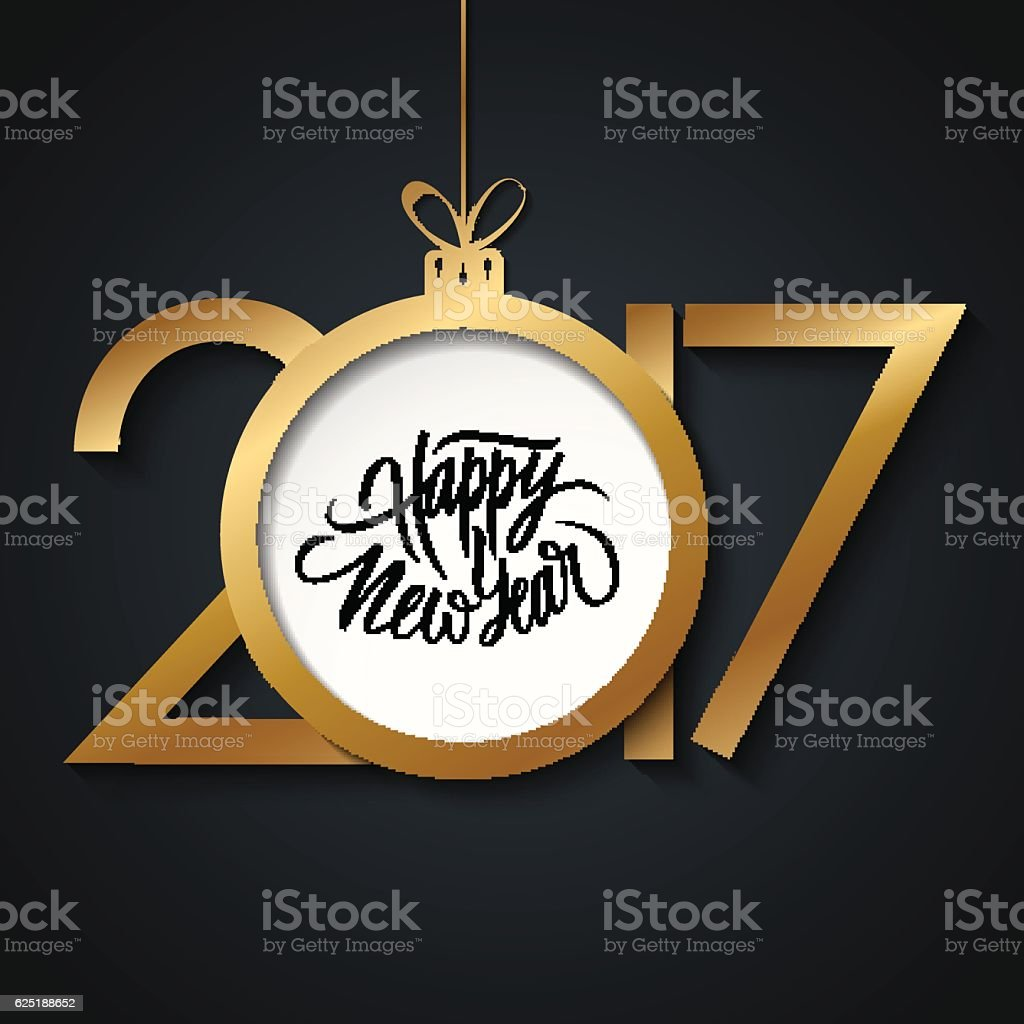 2017 Happy New Year greeting card with handwritten text. vector art illustration