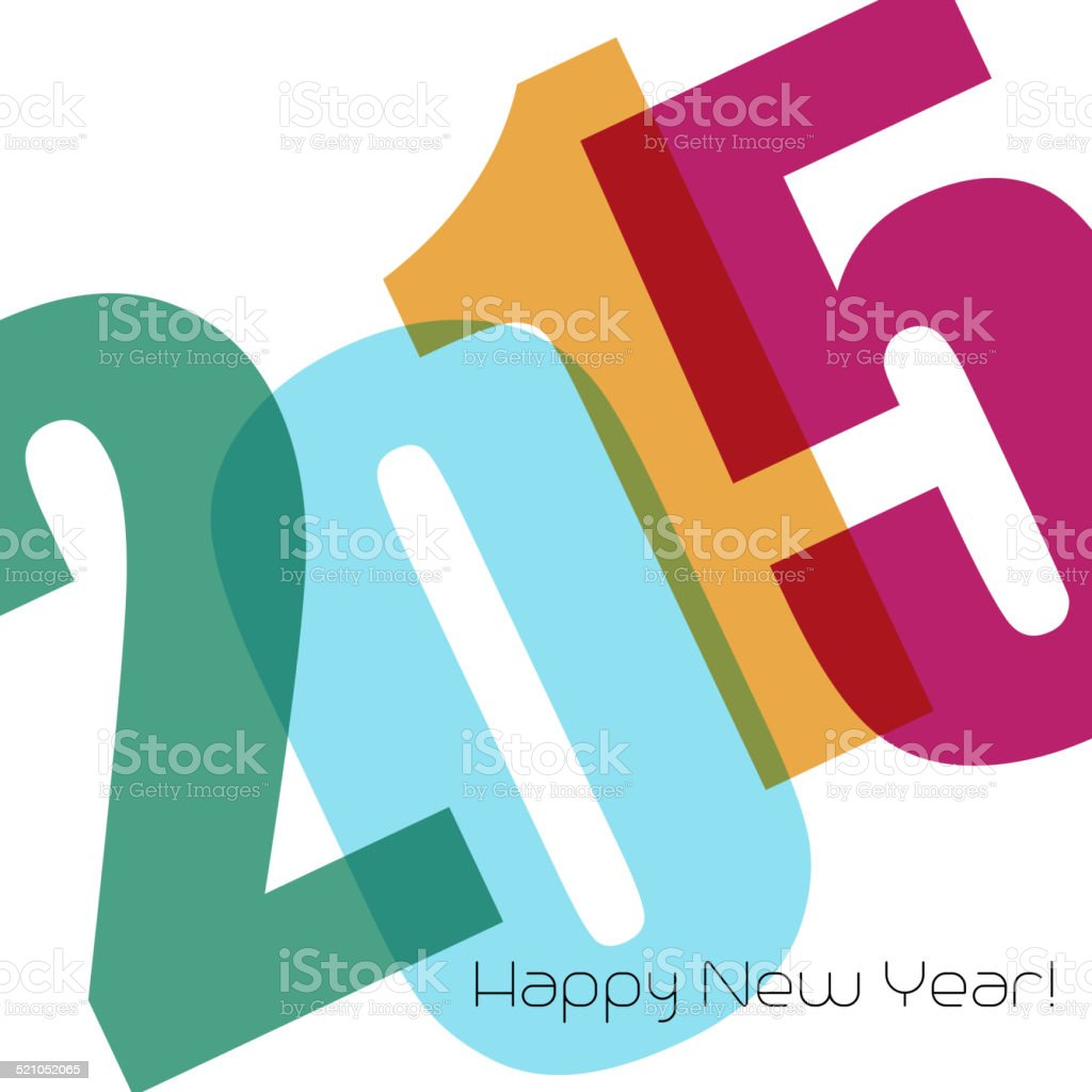 Happy new year greeting with number vector art illustration