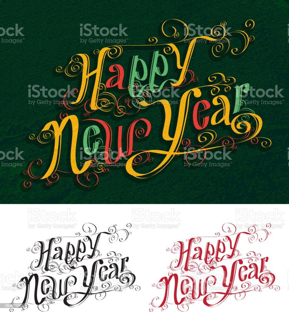 Happy New Year hand drawn script royalty-free stock vector art