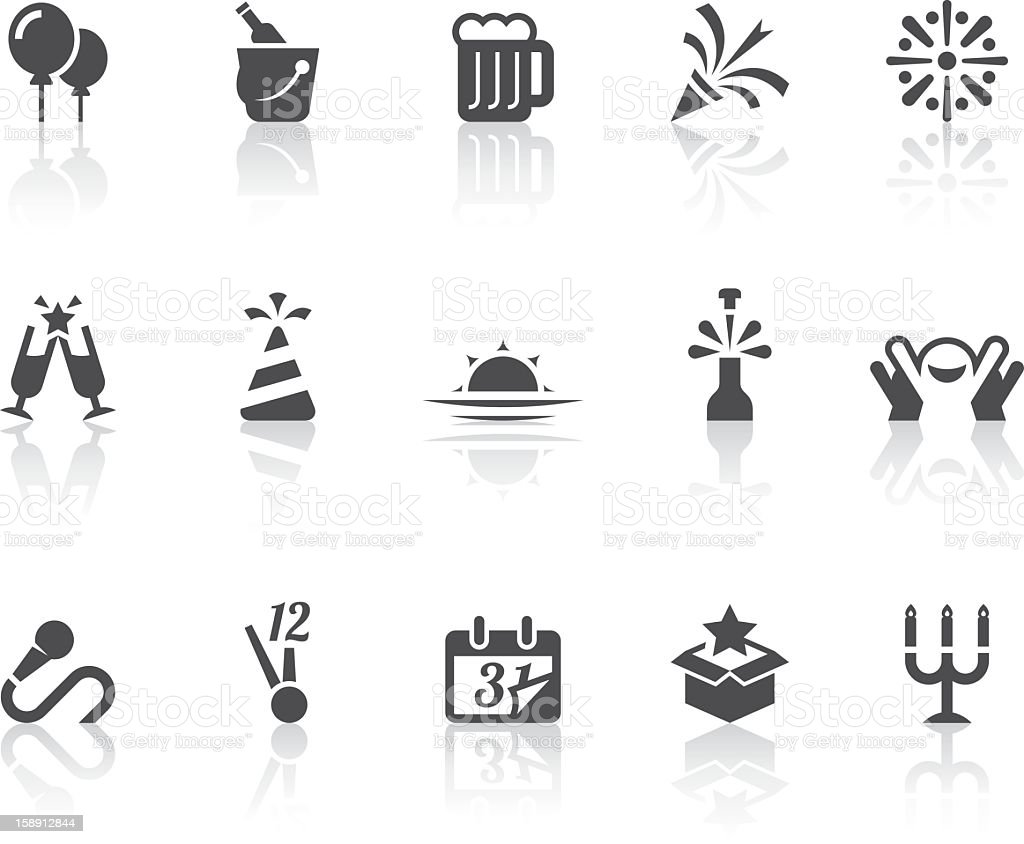 Happy New Year Icons | Simple Black Series vector art illustration