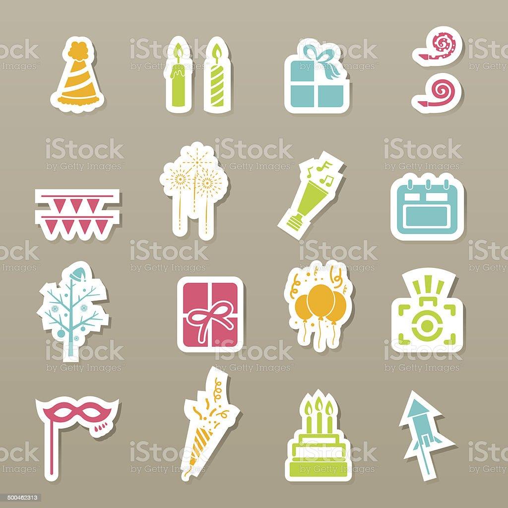 Happy New Year icons royalty-free stock vector art