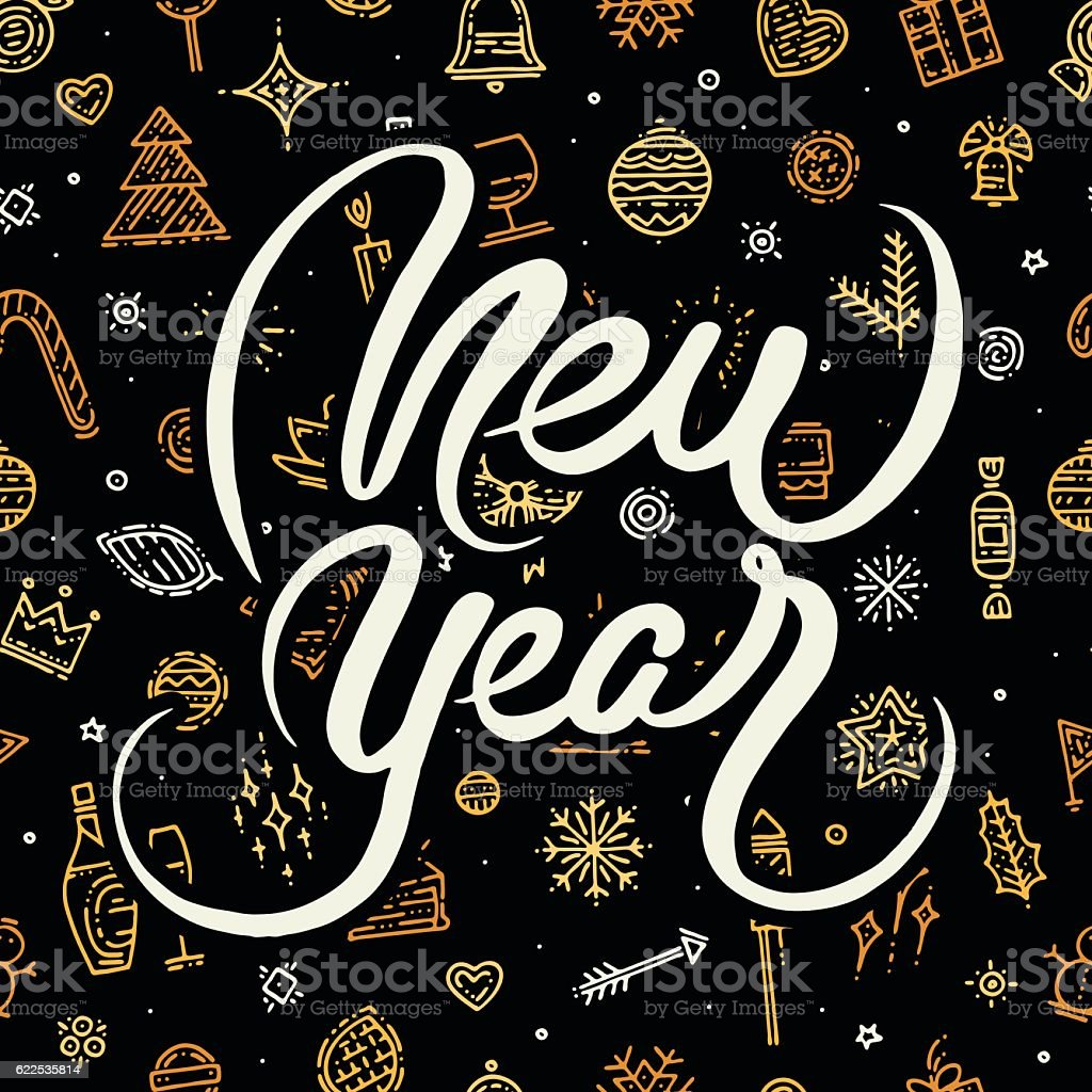 Happy New Year lettering on black background vector art illustration