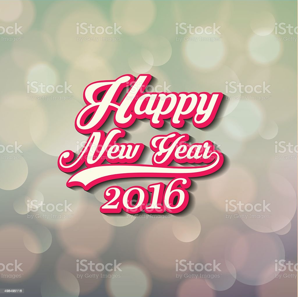 Happy New Year lettering vector art illustration