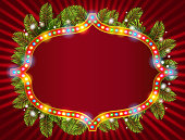Happy new year light frame with christmas decorations, and garland