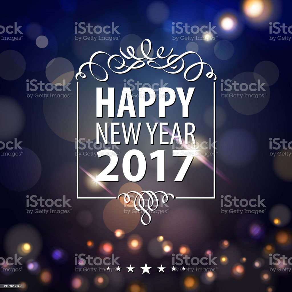 Happy New Year Lights 2017 vector art illustration
