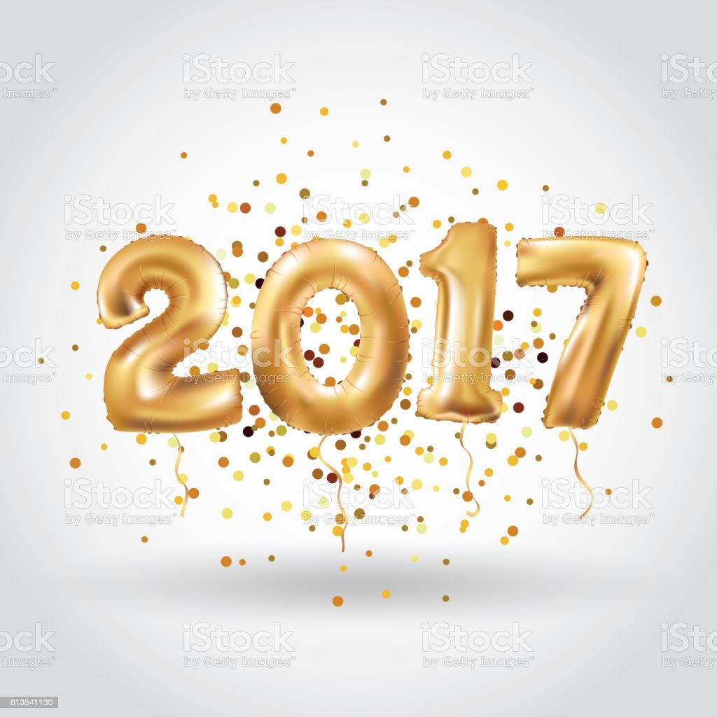 Happy new year Metallic Gold Balloons vector art illustration