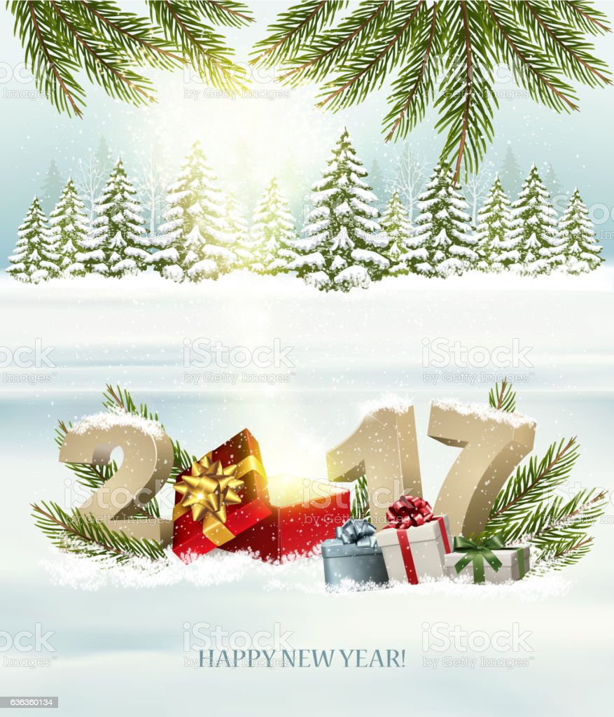 Happy New Year nature background with magic box and present vector art illustration