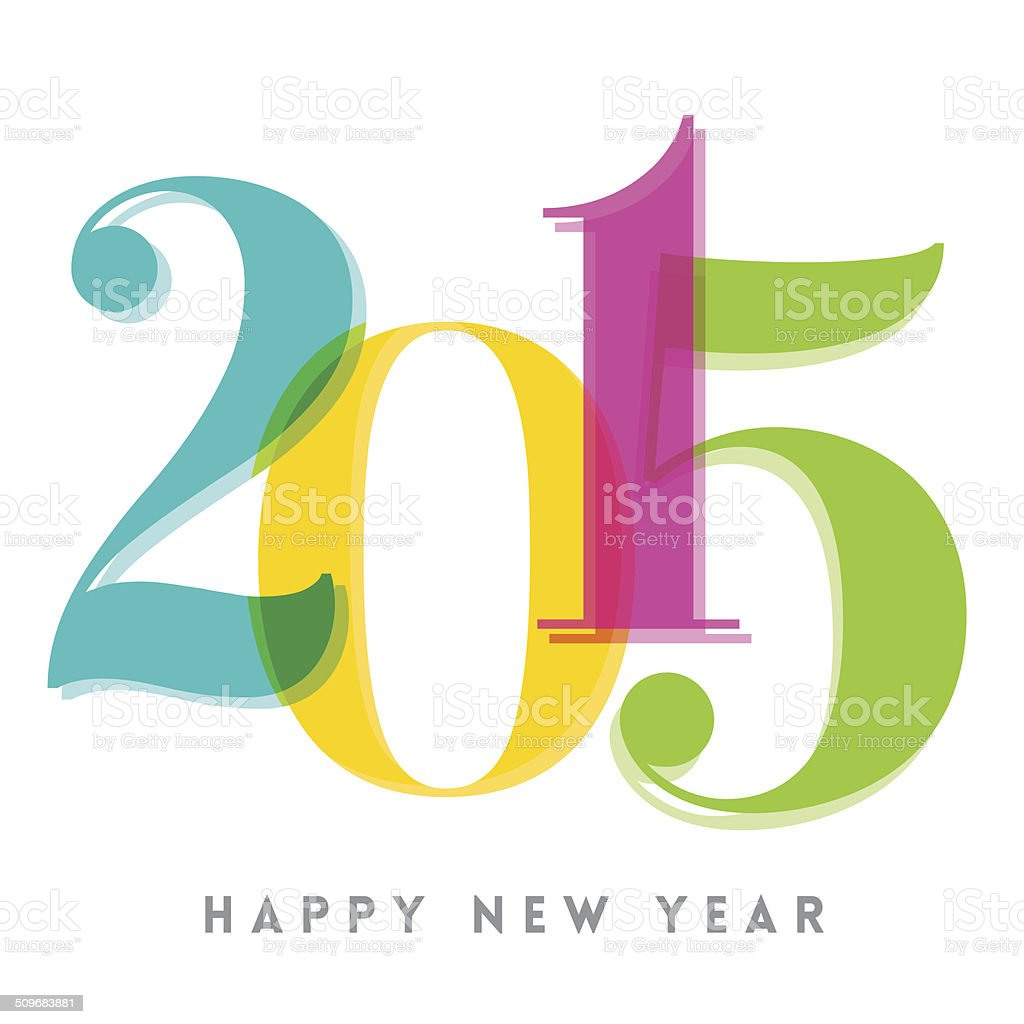 2015 Happy New Year number vector art illustration