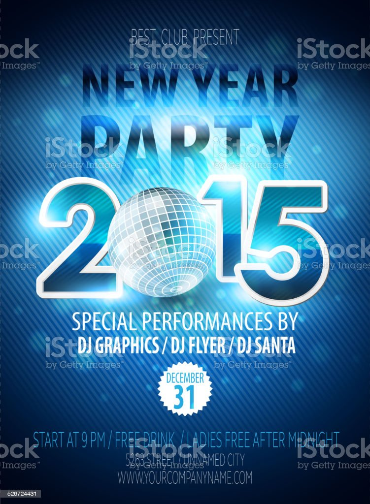 Happy New Year party flyer. Vector template vector art illustration