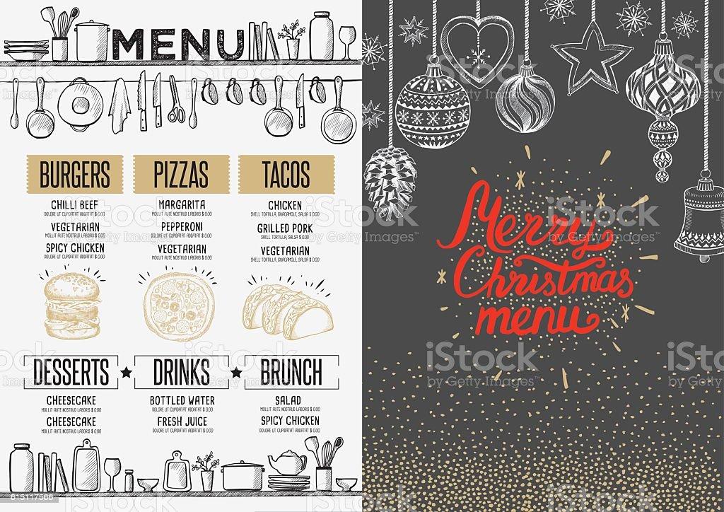 Happy new year party invitation restaurant. Christmas food menu. vector art illustration