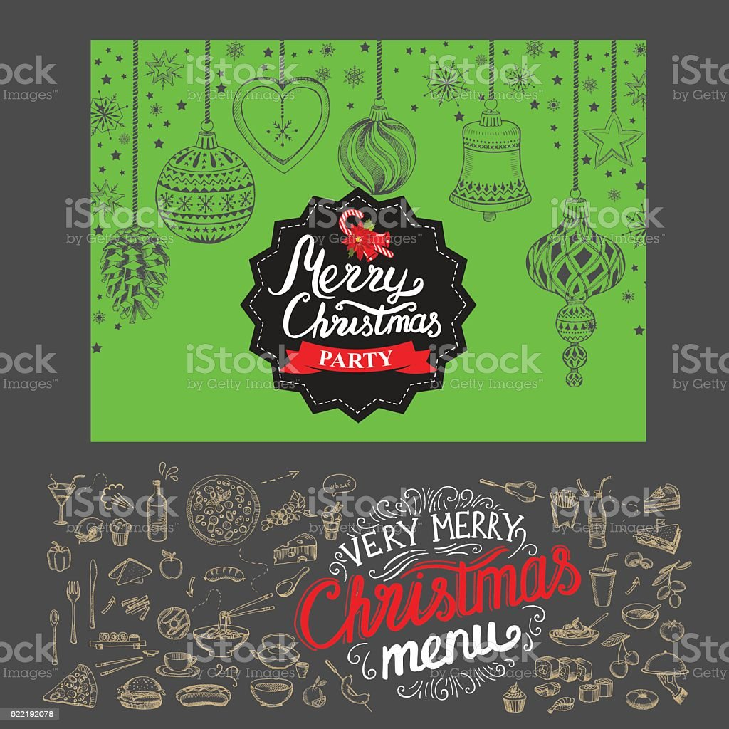 Happy new year party invitation restaurant. Christmas food menu. vector art illustration