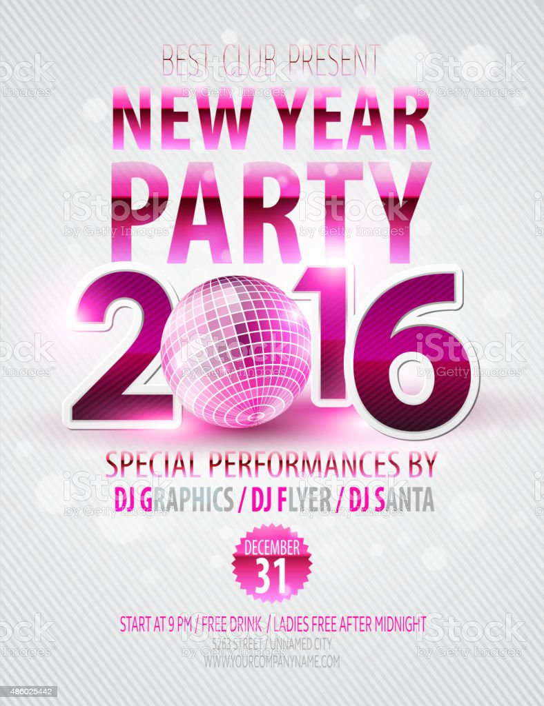 Happy New Year party poster. Vector template vector art illustration