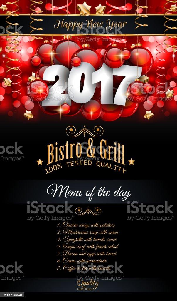 2017 Happy New Year Restaurant Menu Template Background vector art illustration