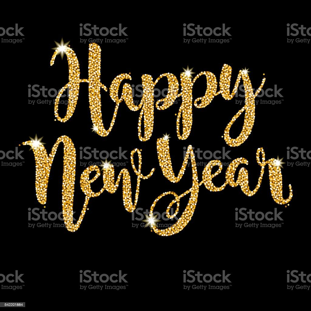 Happy New Year Script Message in Golden Glitter vector art illustration